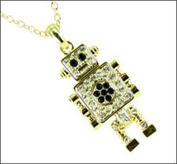 Antique Gold Small Moveable Robot Necklace