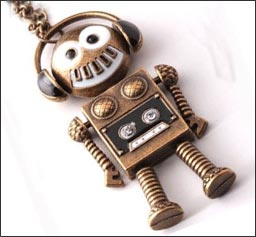 retro music robot with headphones