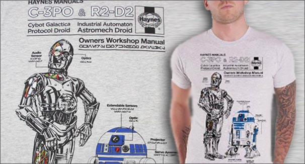 haynes manual c-3po and r2-d2 t-shirt