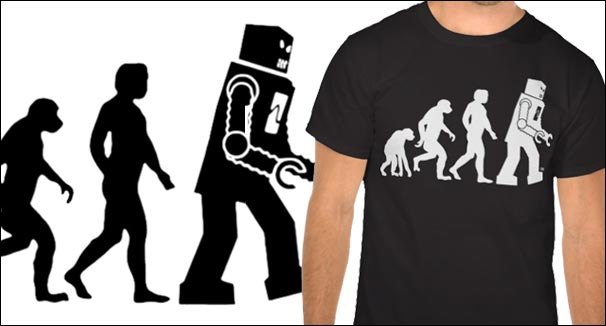 robot evolution t-shirt