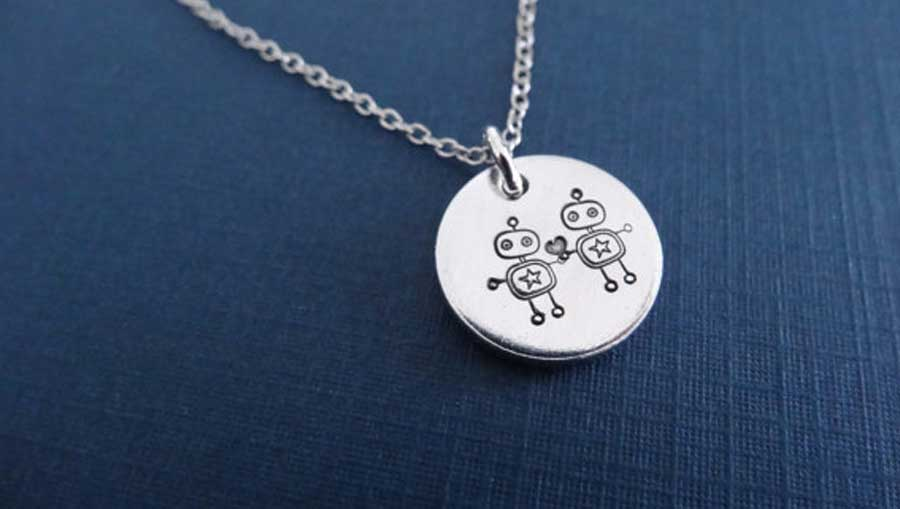 Robots in Love Charm Necklace
