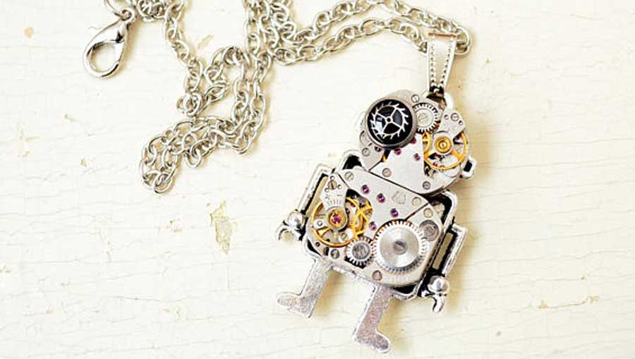 Steampunk Necklace Robot Pendant