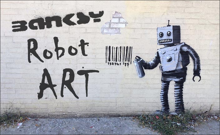 banksy robot art and graffiti