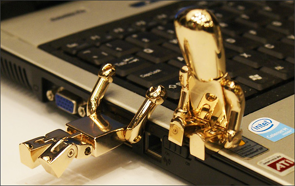 gold robot usb flash drive