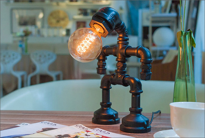 metal robot touch lamp